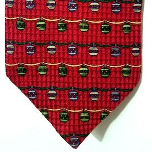 Other - Mens 100% Silk Neck Tie Christmas Ornaments Red 57
